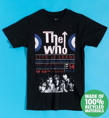 Black The Who Live At Leeds '70 Recycled Eco T-Shirt