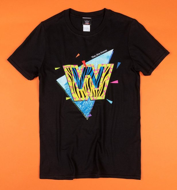 Black WWE Retro Logo T-Shirt