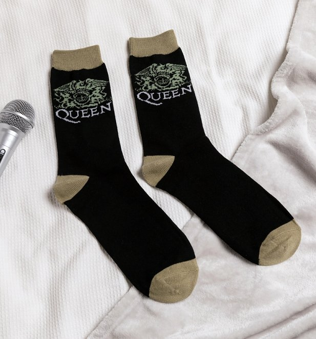 Black and Beige Queen Crest Socks