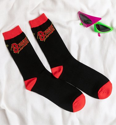 Black and Red David Bowie Logo Socks