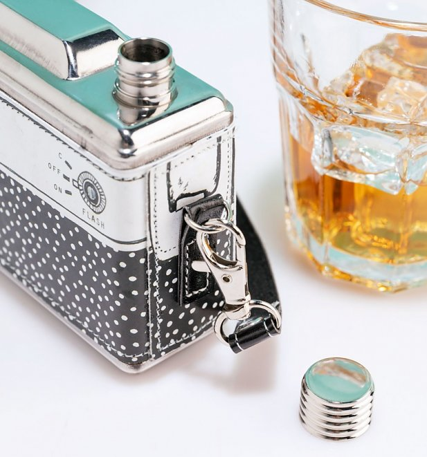 Black and White Retro Camera Hip Flask from House Of Disaster
