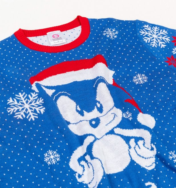 Blue Sonic The Hedgehog Knitted Christmas Jumper