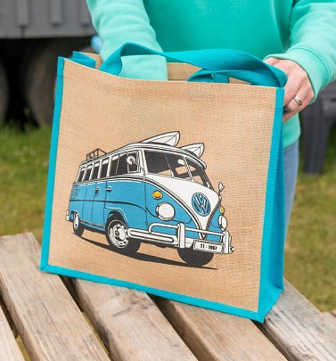 Blue VW Camper Van Jute Bag