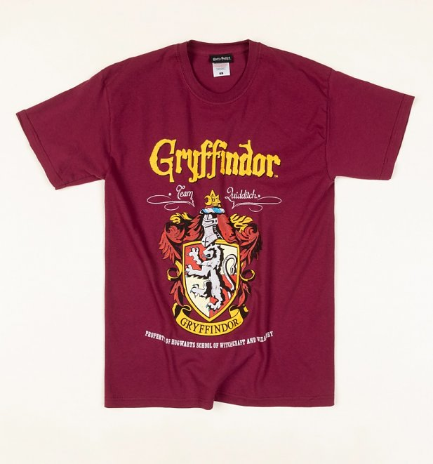 Burgundy Harry Potter Gryffindor Crest T-Shirt