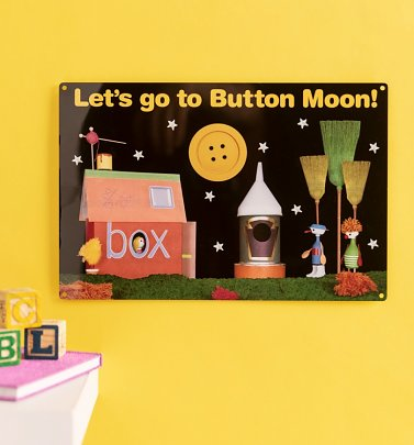 Button Moon Metal Sign