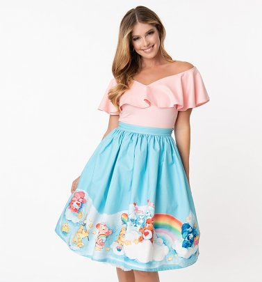 Care Bears In The Clouds Gellar Swing Skirt from Unique Vintage