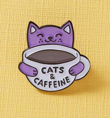Cats & Caffeine Enamel Pin from Punky Pins