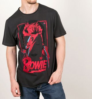 Charcoal David Bowie Aladdin Sane Anniversary T-Shirt from Amplified