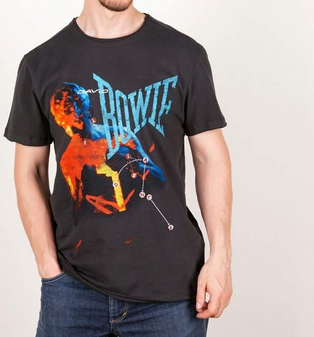 Charcoal Let's Dance Anniversary David Bowie T-Shirt from Amplified