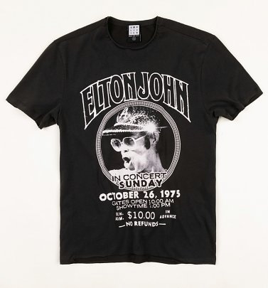 Charcoal Elton John Live In Concert T-Shirt from Amplified