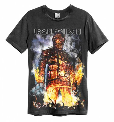 Charcoal Iron Maiden Wicker Man T-Shirt from Amplified
