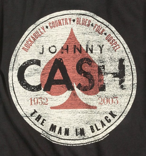 Charcoal Johnny Cash The Man In Black T-Shirt from Amplified
