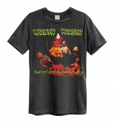 Charcoal Marilyn Manson Portrait Of An American Family T-Shirt from Amplified