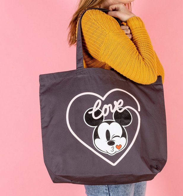 Charcoal Mickey Mouse Love Kiss Large Tote Bag