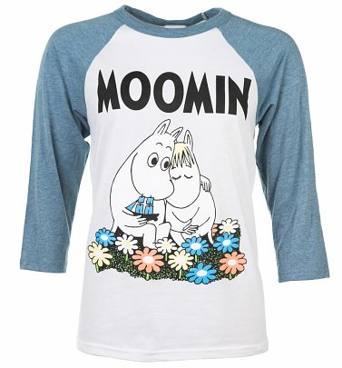 Classic Moomins White And Blue Raglan Baseball T-Shirt