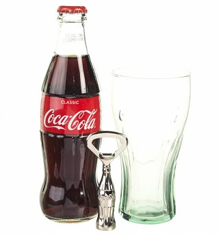 Coca-Cola Christmas Contour Bottle, Glass And Opener Drinking Set
