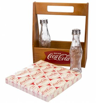 Coca-Cola Wooden Caddy With Napkins and Salt and Pepper Shakers