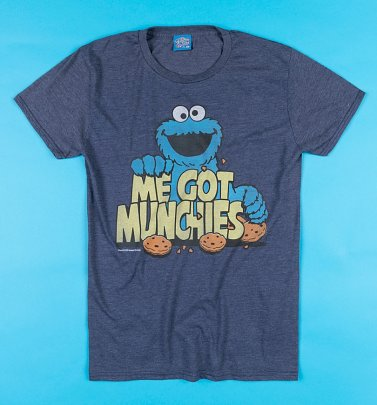 Cookie Monster Munchies Sesame Street Navy T-Shirt