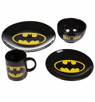 DC Comics Batman Logo 4 Piece Ceramic Dinner Set