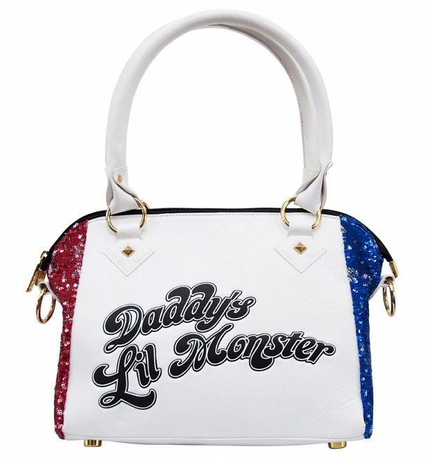 DC Comics Suicide Squad Daddy's Lil Monster Harley Quinn PU Sequin Handbag