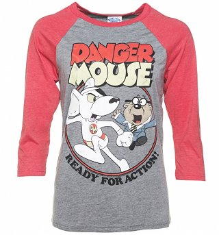 Danger Mouse Ready For Action Grey and Red Raglan Baseball T-Shirt