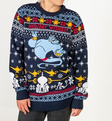 Disney Aladdin Genie Christmas Wishes Knitted Christmas Jumper