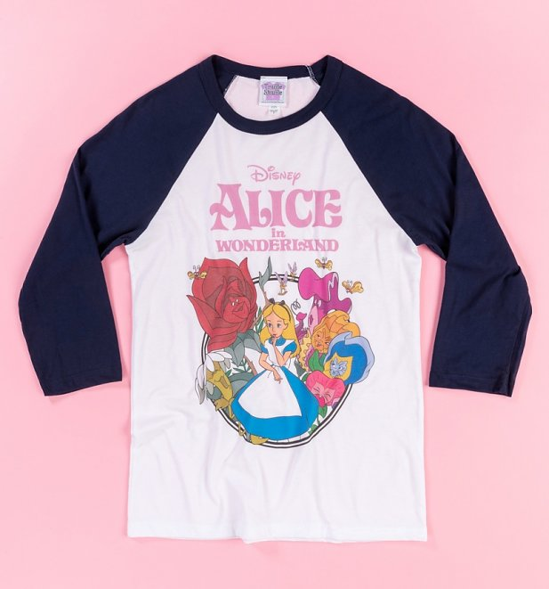 PENDING APPROVAL VIA POETIC Disney Alice In Wonderland Grey And Navy Baseball Shirt