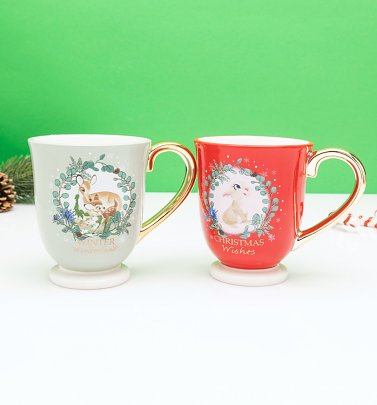 Disney Bambi Set of 2 Christmas Mugs