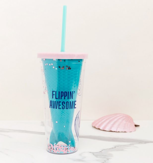 Disney Flippin Awesome Little Mermaid Glitter Cup With Straw from Funko