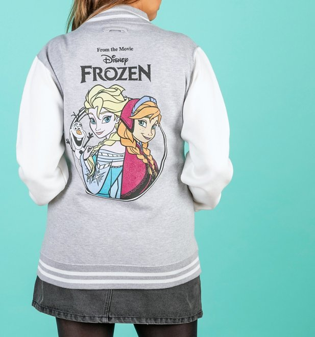 Disney Frozen Grey And White Varsity Jacket