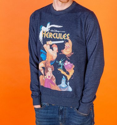 Disney Hercules Video Cover Heather Navy Sweater