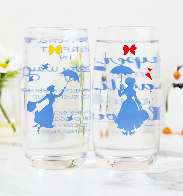 Disney Mary Poppins Set Of Two Practically Perfect Glasses