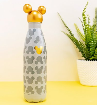 Disney Mickey Mouse Metal Water Bottle With Gold Mickey Head Lid from Funko