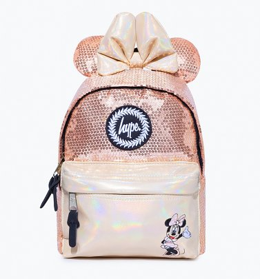 Disney Minnie Mouse Rose Gold Sequin Mini Backpack With Ears from Hype
