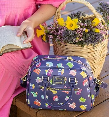 Loungefly Disney Princess Books All Over Print Crossbody Bag