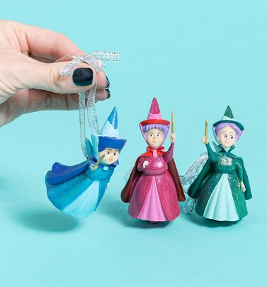 Disney Sleeping Beauty Set of 3 Fairy Godmothers Hanging Decorations