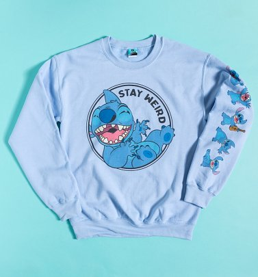 Disney Stitch Stay Weird Sleeve Print Sweater