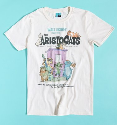 Disney The Aristocats Vintage Movie Poster Ecru T-Shirt