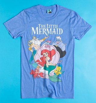 Disney The Little Mermaid Group Shot Blue Marl T-Shirt