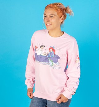 Disney The Little Mermaid Kiss The Girl Pink Sweater With Sleeve Print