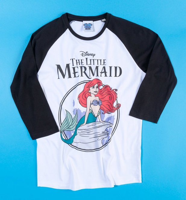 Disney The Little Mermaid White And Black Baseball Shirt