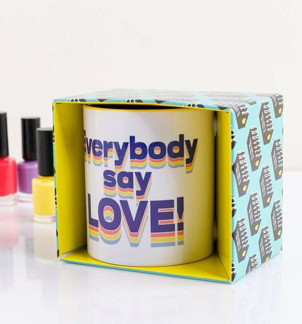 Everybody Say Love Yellow Handle Mug