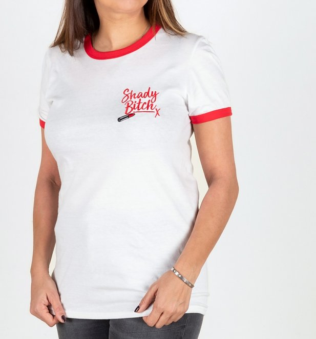 Drag Race Inspired Shady Bitch Embroidered White And Red Ringer T-Shirt