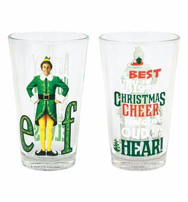Elf Set of Two Christmas Glasses