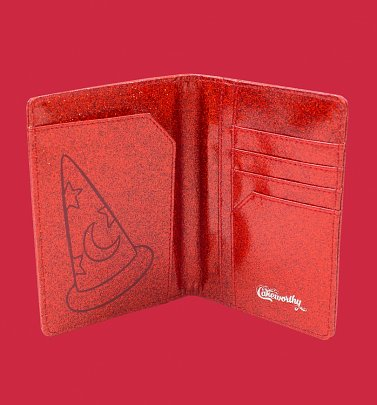 Fantasia Sorcerer Mickey Red Glitter Passport Holder from Cakeworthy