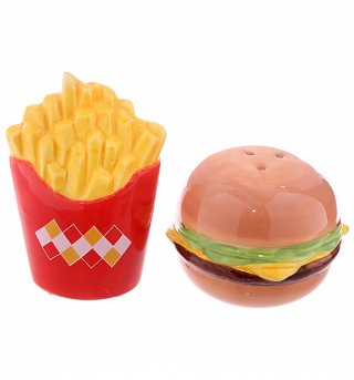 Fast Food Burger And Chips Salt And Pepper Set