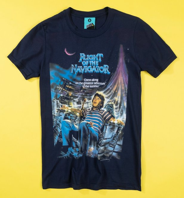 Flight Of The Navigator Movie Poster Navy T-Shirt