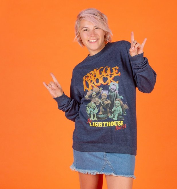Fraggle Rock Lighthouse Tour Heather Navy Sweater