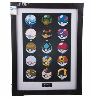 Framed Pokemon Pokeballs 30 x 40cm Collectors Art Print