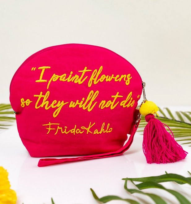 Frida Kahlo Beaded Make Up Bag With Tassel from House of Disaster